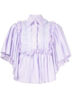 Хлопковая рубашка с короткими рукавами в полоску Viktor & Rolf