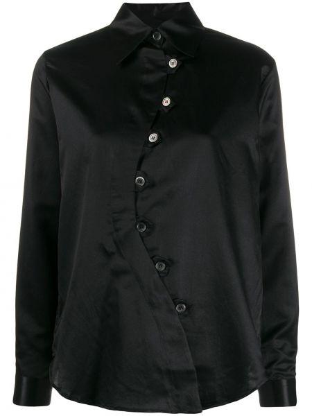 Czarna koszula z długimi rękawami asymetryczna Aalto
