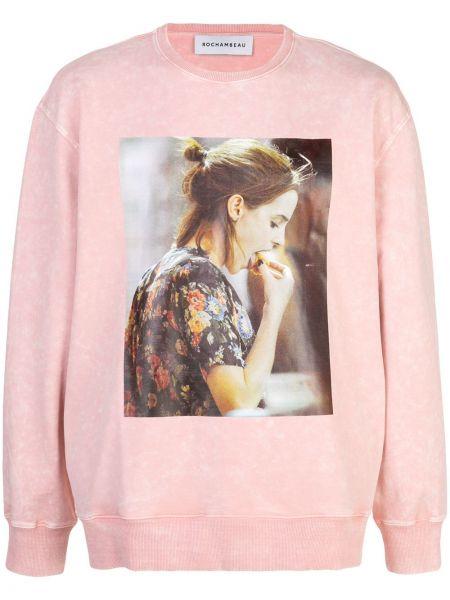 Różowa bluza bawełniana z printem Rochambeau