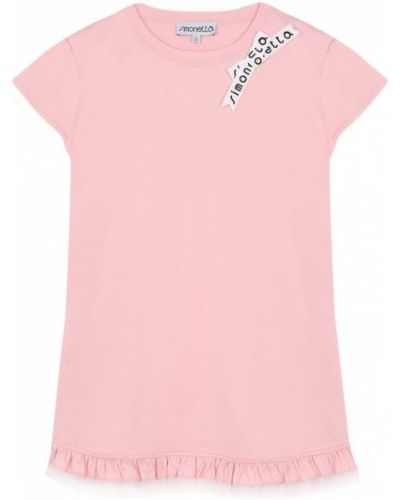 Платье розовое с надписью Simonetta