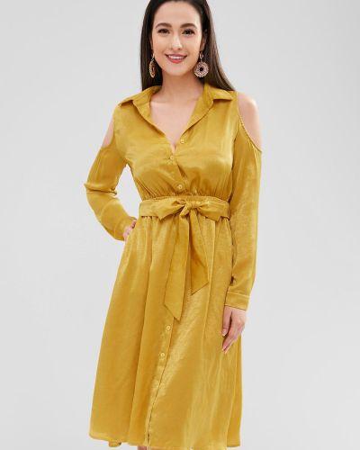 Платье с поясом на пуговицах через плечо Zaful