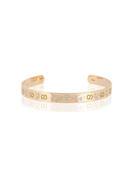 Золотистый желтый золотой браслет Gucci