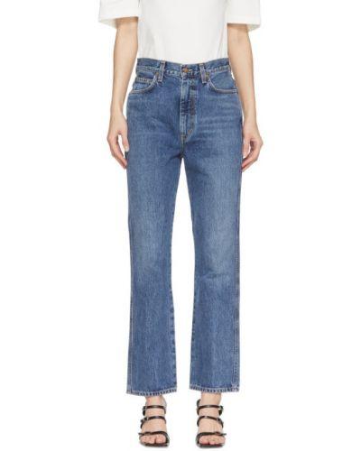 Niebieski rozbłysnął z wysokim stanem jeansy na wysokości z kieszeniami Agolde