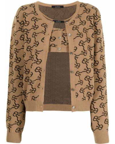 Brązowy sweter z akrylu Rokh
