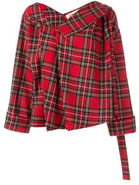 Шерстяной красный удлиненный пиджак в клетку A.w.a.k.e. Mode