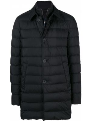 Z rękawami czarny długi płaszcz z kołnierzem z kieszeniami Herno