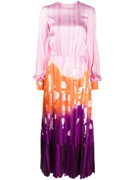 Розовое платье макси с вырезом из вискозы круглое Stella Jean