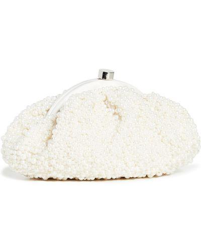 Satynowa biała sprzęgło na łańcuchu perły Santi