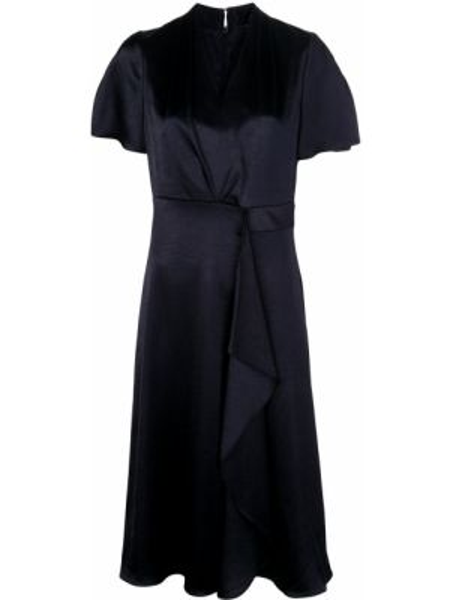 Czarna sukienka midi rozkloszowana krótki rękaw Elie Tahari