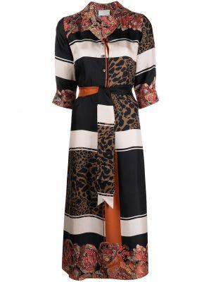 Шелковое с рукавами черное платье миди Pierre-louis Mascia