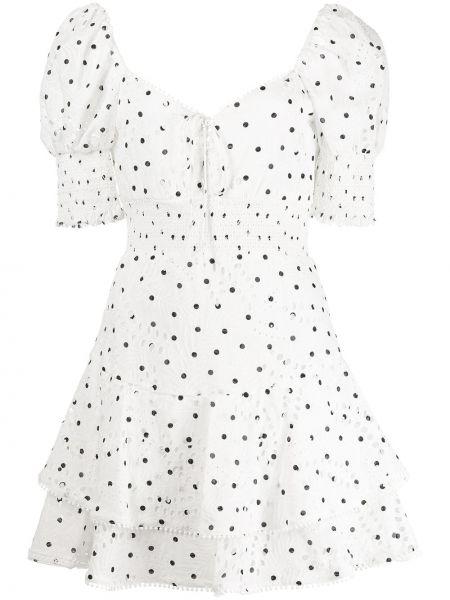 Платье в горошек - белое Alice+olivia