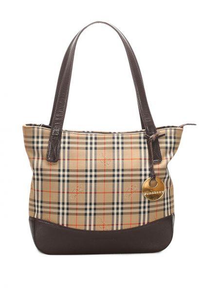 Коричневая парусиновая сумка-тоут на молнии с подвесками Burberry Pre-owned