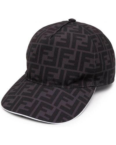 Шерстяная черная шапка бини Fendi