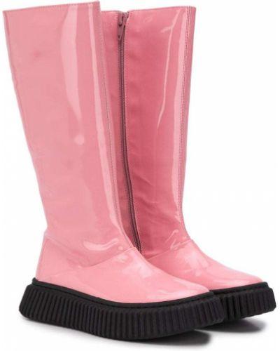 Кожаные розовые сапоги на молнии Marni Kids