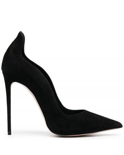 Черные кожаные туфли-лодочки на каблуке Le Silla