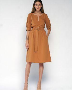 Прямое платье миди с карманами с вырезом с короткими рукавами Fiato