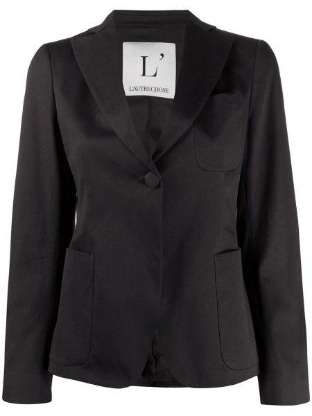 Черный приталенный пиджак с карманами L'autre Chose