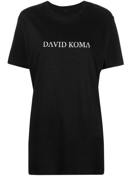 Прямая хлопковая черная футболка David Koma