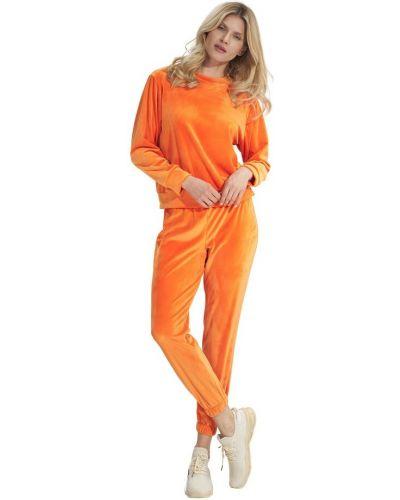 Pomarańczowe spodnie welurowe Figl