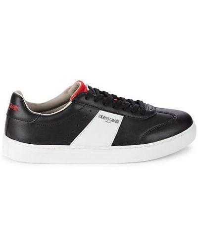 Czarne sneakersy skorzane sznurowane Roberto Cavalli Sport