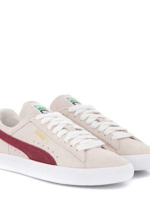 Кожаные кроссовки замшевые белый Puma