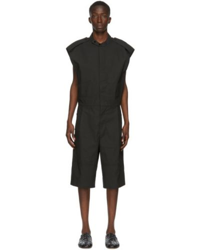Хлопковый черный комбинезон с карманами Bottega Veneta