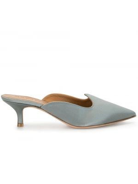 Серые кожаные мюли на каблуке без застежки Le Monde Beryl