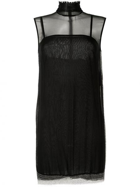 Черное шелковое платье без рукавов трапеция Vera Wang