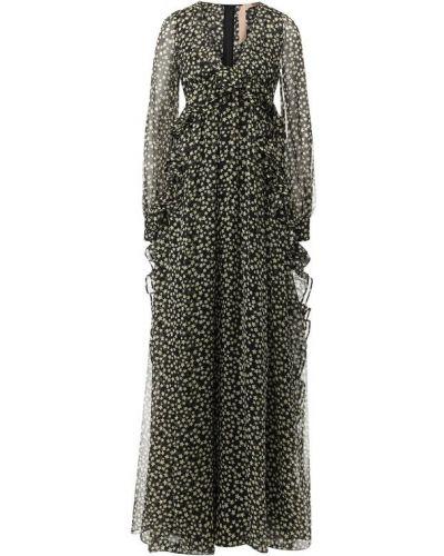 Платье макси шелковое с оборками No. 21