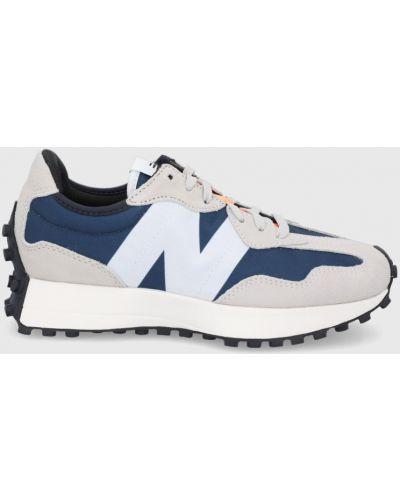 Sneakersy skorzane granatowe na obcasie New Balance