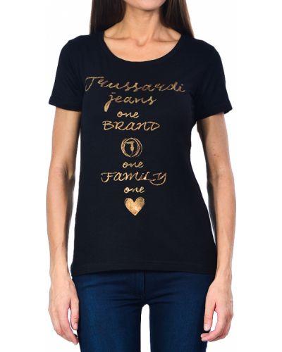 Футбольная черная футболка Trussardi Jeans