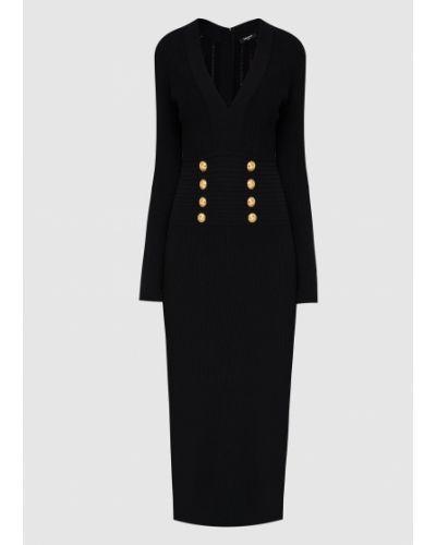 Платье миди с V-образным вырезом - черное Balmain
