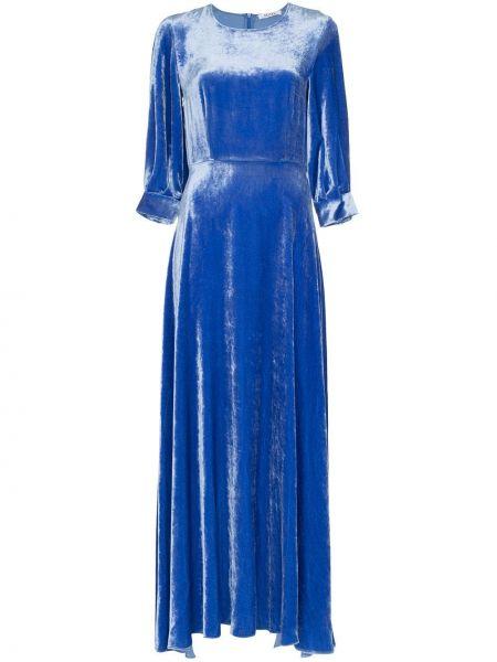 Синее шелковое классическое платье макси на пуговицах Deitas