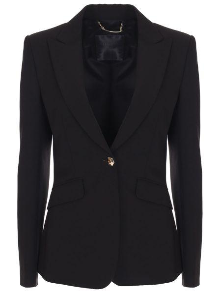 Приталенный черный классический пиджак с воротником с карманами Philipp Plein