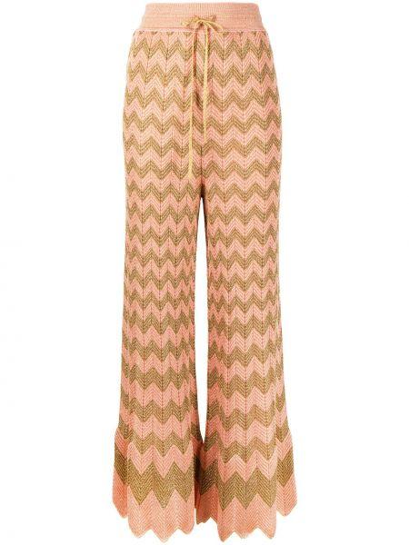 Расклешенные розовые с завышенной талией брюки M Missoni