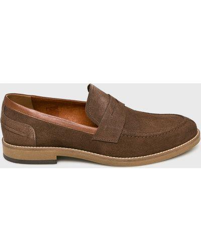 Кожаные туфли замшевые на каблуке Conhpol