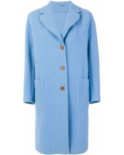 Синее пальто однобортное Ermanno Scervino