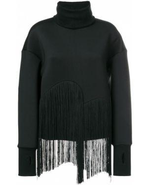 Шелковый черный свитер с бахромой Ioana Ciolacu