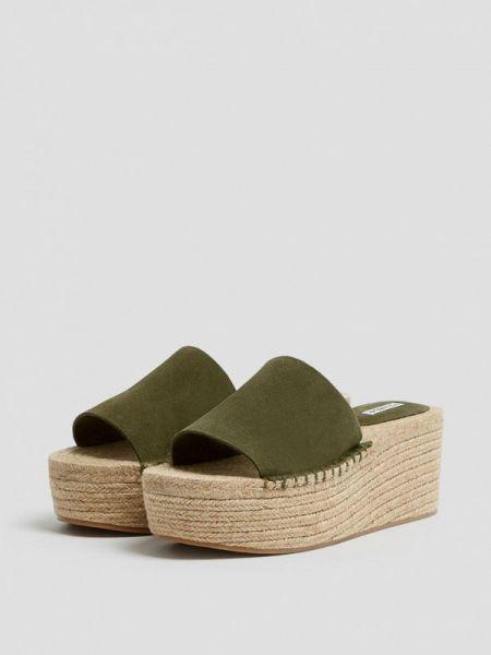 Эспадрильи зеленый замшевые Pull&bear