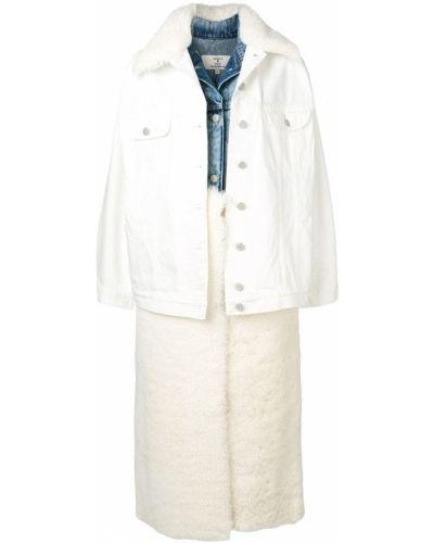 Белое длинное пальто с капюшоном на пуговицах Natasha Zinko