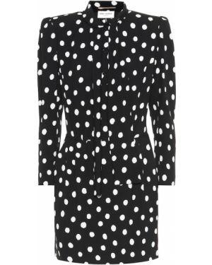 Платье мини в горошек черное Saint Laurent