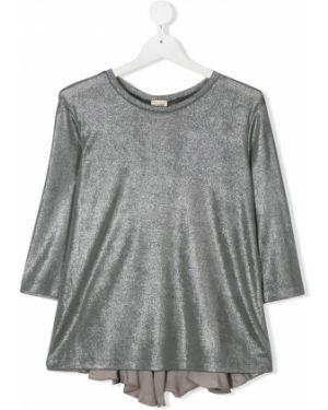 Серая с рукавами блузка с круглым вырезом Caffe' D'orzo