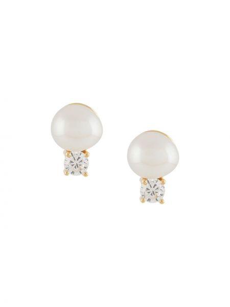 Złote kolczyki sztyfty perły Northskull