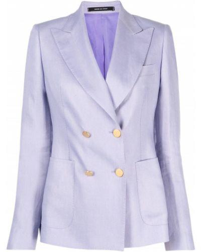 Льняной пиджак двубортный для полных Tagliatore