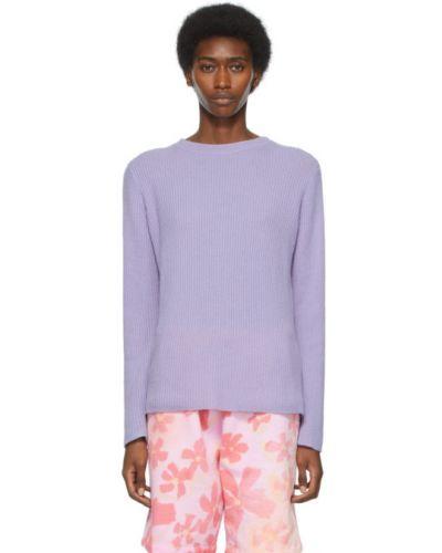Фиолетовый кашемировый длинный свитер с воротником The Elder Statesman