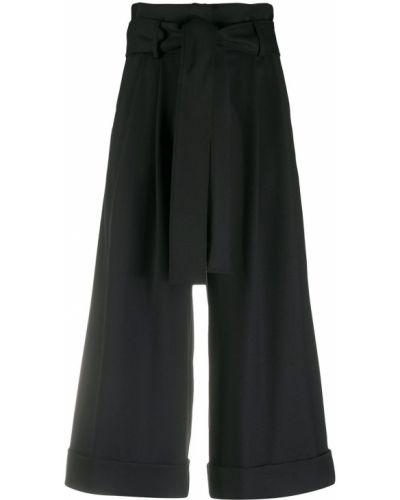 Bezpłatne cięcie wełniany czarny spodnie culotte bezpłatne cięcie Parosh