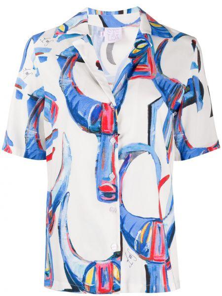 Прямая белая рубашка с коротким рукавом из вискозы с короткими рукавами Stella Jean