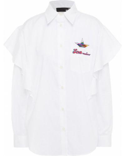 Biała koszula bawełniana z haftem Love Moschino