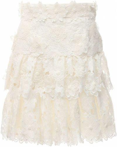 Biały ażurowy spódnica mini na sznurowadłach Zimmermann