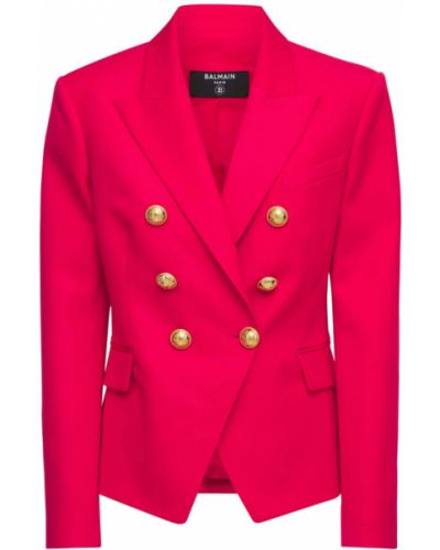 Розовый пиджак двубортный с карманами Balmain